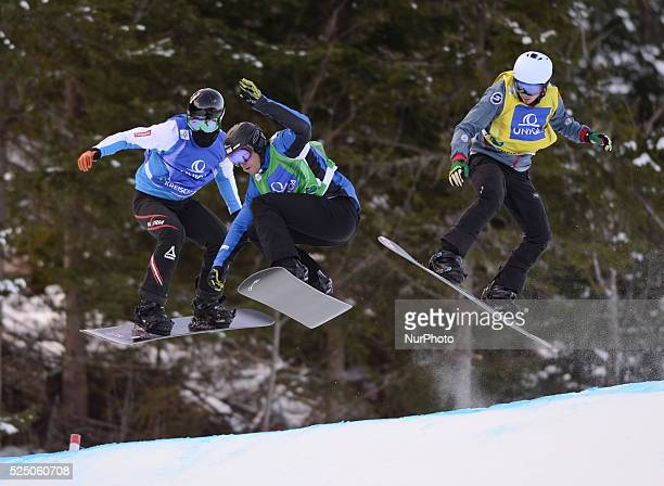 Julian Lueftner Lluis Marin Tarroch and Jarryd Hughes during a Men's Snowboard Eight Final 6 at FIS Snowboard World Championship 2015 in Kreischberg...
