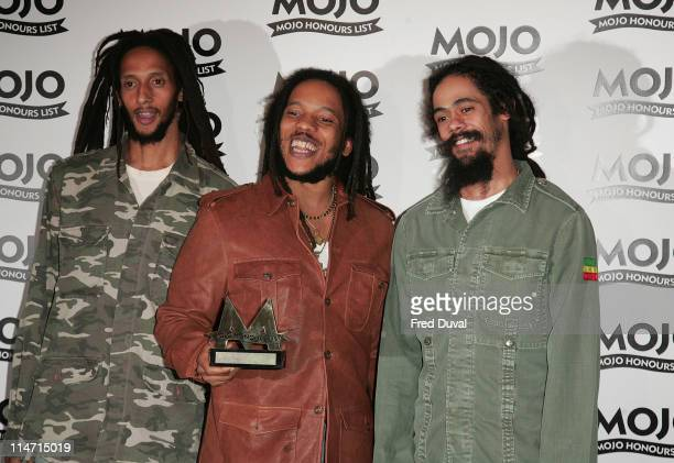 Julian Marley Stephen Marley and Damian Marley sons of Bob Marley winner MOJO Classic Album Award for 'Exodus' by Bob Marley the Wailers