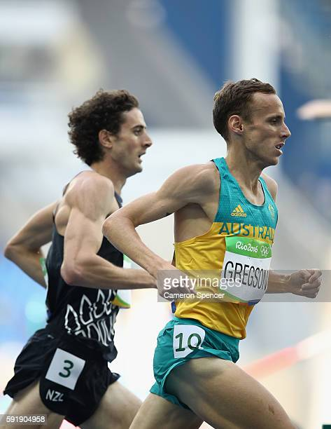 Julian Matthews of New Zealand and Ryan Gregson of Australia compete in the Men's 1500m Round 1 on Day 11 of the Rio 2016 Olympic Games at the...