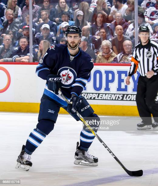 Julian Melchiori of the Winnipeg Jets keeps an eye on the play during third period action against the Nashville Predators at the MTS Centre on April...