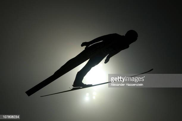 Julian Musiol of Germany competes during the first round for the FIS Ski Jumping World Cup event at the 59th Four Hills ski jumping tournament at...
