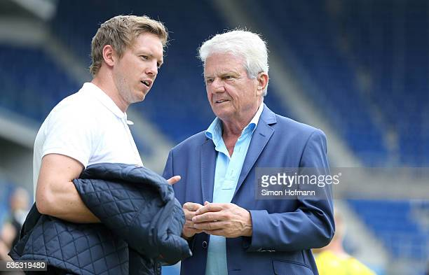Julian Nagelsmann and Dietmar Hopp attend the A Juniors German Championship Final match between 1899 Hoffenheim U19 and Borussia Dortmund U19 at...
