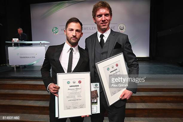 Julian Nagelsmann and Domenico Tedesco of 1899 Hoffenheim pose during the Coaching Award Ceremony Closing Event UEFA Pro Coaching Course 2015/2016 at...