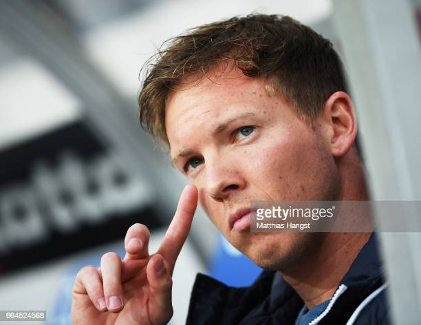 Julian Nagelsmann head coach of 1899 Hoffenheim before the Bundesliga match between TSG 1899 Hoffenheim and Bayern Muenchen at Wirsol...