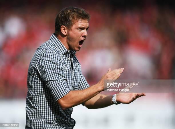 Julian Nagelsmann head coach of 1899 Hoffenheim in action during the Bundesliga match between SportClub Freiburg and TSG 1899 Hoffenheim at...