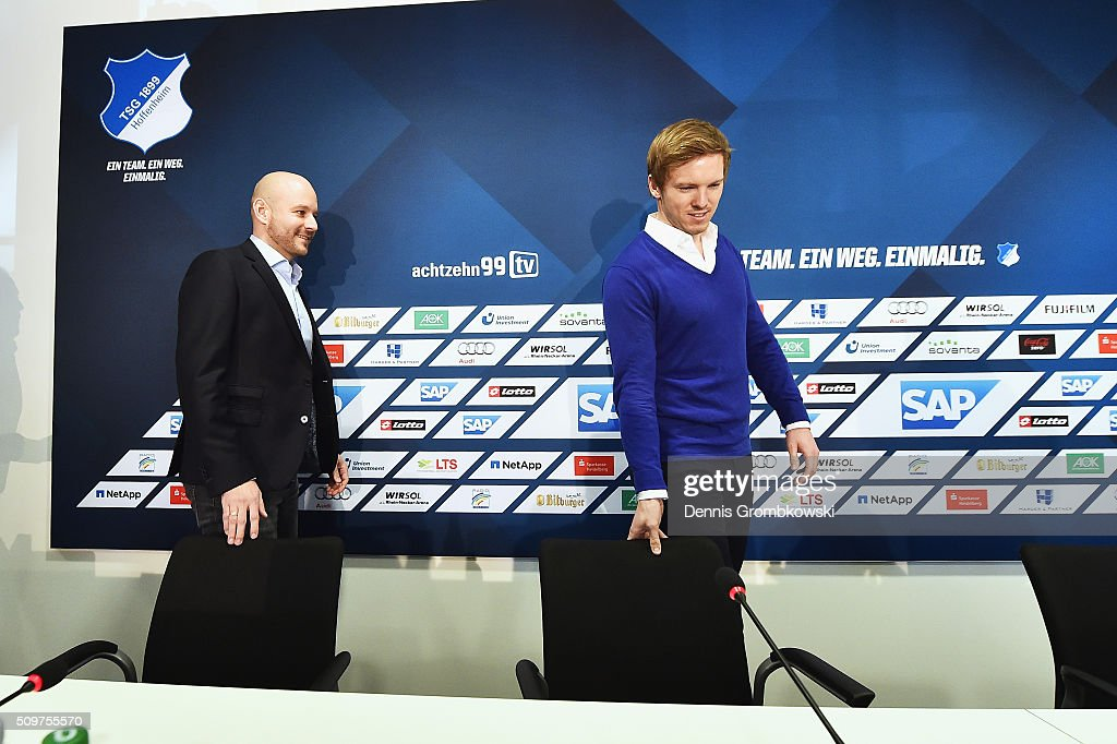 <a gi-track='captionPersonalityLinkClicked' href=/galleries/search?phrase=Julian+Nagelsmann&family=editorial&specificpeople=12889193 ng-click='$event.stopPropagation()'>Julian Nagelsmann</a> is presented as new head coach of TSG 1899 Hoffenheim during a press conference on February 12, 2016 in Zuzenhausen, Germany.