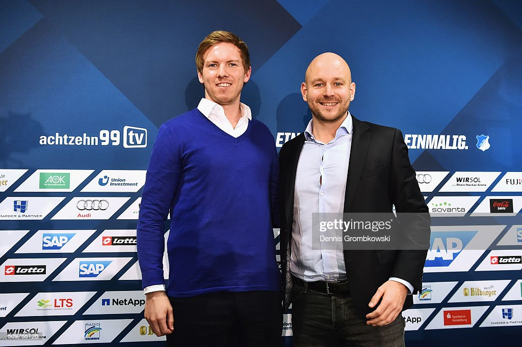 <a gi-track='captionPersonalityLinkClicked' href=/galleries/search?phrase=Julian+Nagelsmann&family=editorial&specificpeople=12889193 ng-click='$event.stopPropagation()'>Julian Nagelsmann</a> is presented by Alexander Rosen as new head coach of TSG 1899 Hoffenheim during a press conference on February 12, 2016 in Zuzenhausen, Germany.