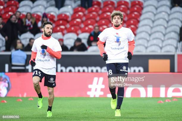 Julian Palmieri of Lille and Xeka of Lille during the French Ligue 1 match between Lille and Bordeaux at Stade PierreMauroy on February 25 2017 in...
