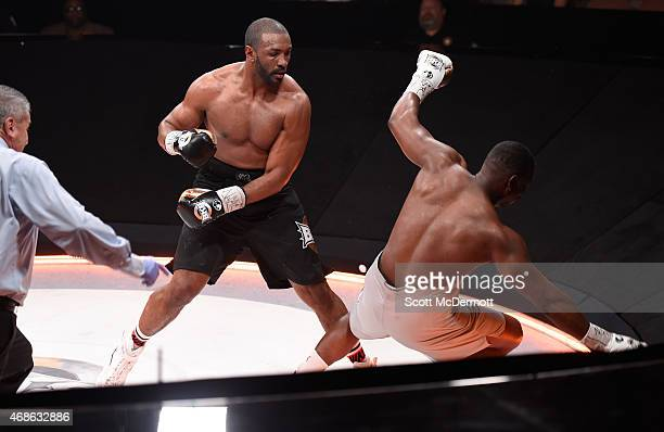 Julian Pollard knocks down Elijah McCall during BKB 2 Big Knockout Boxing at the Mandalay Bay Events Center on April 4 2015 in Las Vegas Nevada