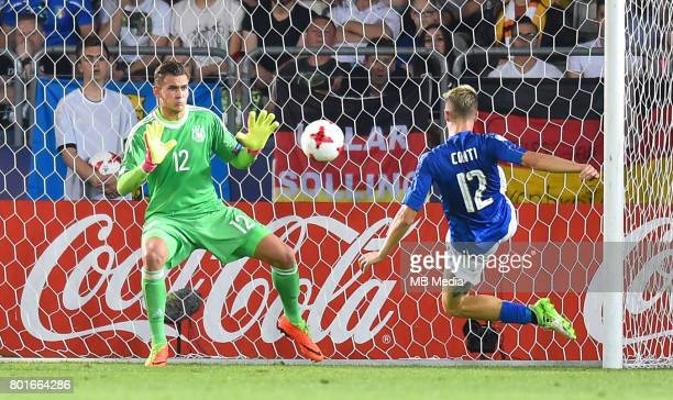 Julian Pollersbeck Andrea Conti during the UEFA European Under21 match between Italy and Germany on June 24 2017 in Krakow Poland