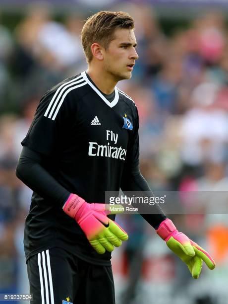 Julian Pollersbeck goalkeeper of Hamburg gestures during the preseason friendly match between Holstein Kiel and Hamburger SV at GruemmiArena on July...