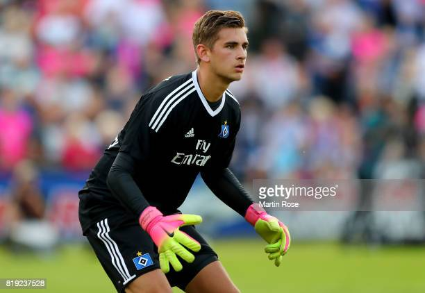 Julian Pollersbeck goalkeeper of Hamburg gestures during the preseason friendly match between Holstein Kiel and Hamburger SV at GruemmiArena on July...