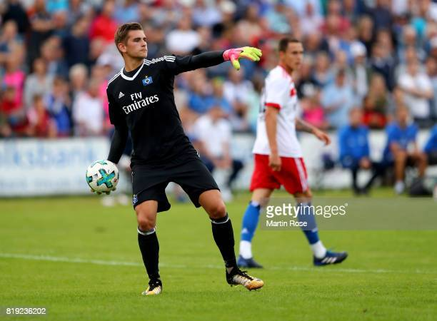 Julian Pollersbeck goalkeeper of Hamburg in action during the preseason friendly match between Holstein Kiel and Hamburger SV at GruemmiArena on July...