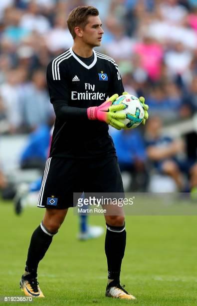 Julian Pollersbeck goalkeeper of Hamburg in action during the preseason friendly match between Holstein Kiel and Hamburger SV at GruemmiArena on July...