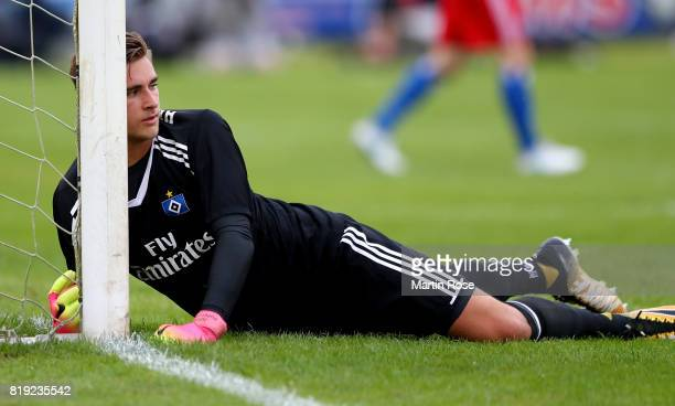 Julian Pollersbeck goalkeeper of Hamburg reacts during the preseason friendly match between Holstein Kiel and Hamburger SV at GruemmiArena on July 19...