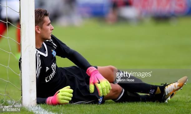 Julian Pollersbeck goalkeeper of Hamburg reacts during the preseason friendly match between Holstein Kiel and Hamburger SV at GruemmiArena on July 19...