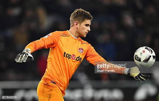 Julian Pollersbeck of Kaiserlautern in action during the Second Bundesliga match between FC St Pauli and 1 FC Kaiserslautern at Millerntor Stadium on...