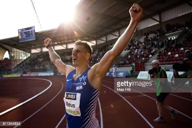Julian Reus celebrates after winning at men's 200 Final during day 2 of the German Championships in Athletics at Steigerwaldstadion on July 9 2017 in...