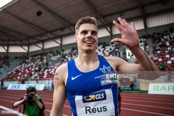Julian Reus celebrates after winning men's 100 Meter Final during day 1 of the German Championships in Athletics at Steigerwaldstadion on July 8 2017...