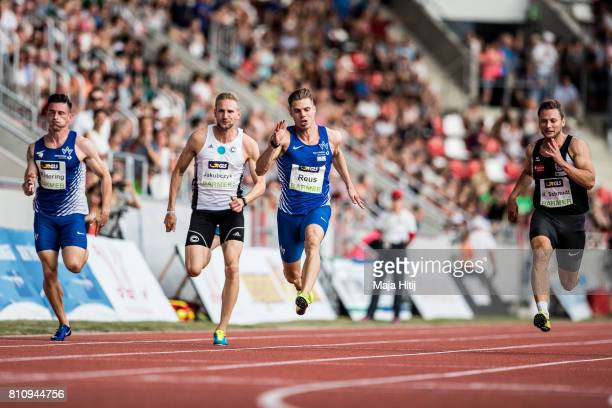 Julian Reus competes during men's 100 Meter Final during day 1 of the German Championships in Athletics at Steigerwaldstadion on July 8 2017 in...