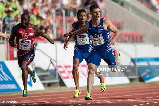 Julian Reus crosses the finish line at men's 200 Final during day 2 of the German Championships in Athletics at Steigerwaldstadion on July 9 2017 in...