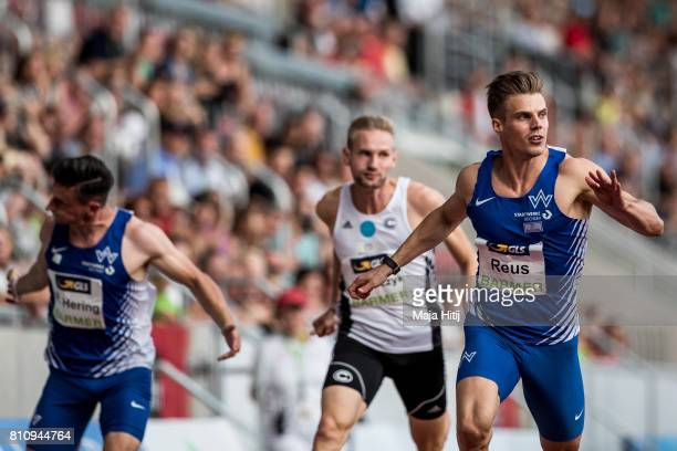 Julian Reus crosses the finish line during men's 100 Meter Final during day 1 of the German Championships in Athletics at Steigerwaldstadion on July...