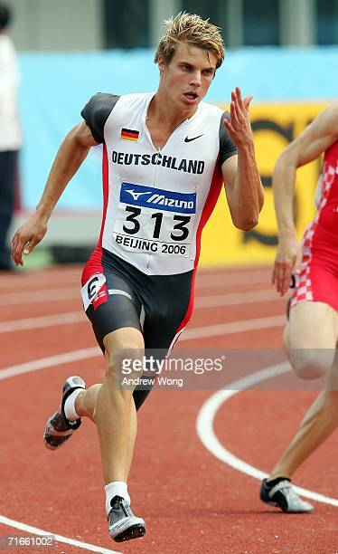 Julian Reus of Germany competes in a heat of the men's 200 meters at the 11th IAAF World Junior Athletics Championships August 17 2006 in Beijing...