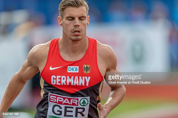 Julian Reus of Germany concentrating prior to the men's 100m sprint competiton finals at the Olympic Stadium during Day Four of the 23rd European...