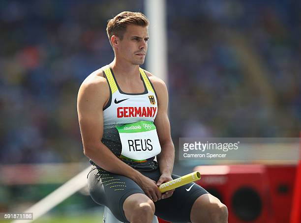 Julian Reus of Germany looks on during round one of the Men's 4 x 100m Relay on Day 13 of the Rio 2016 Olympic Games at the Olympic Stadium on August...