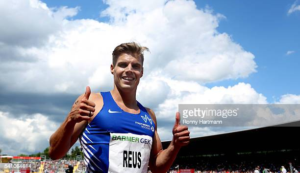 Julian Reus of TV Wattenscheid celebrates after winning the Men's 100 metres final during day 1 of the German Championships in Athletics at Aue...