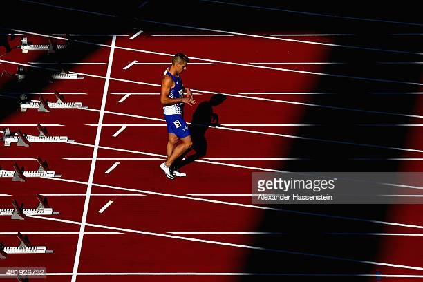 Julian Reus of TV Wattenscheid prepares for the 100 metres finale during day 2 of the German Championships in Athletics at Grundig Stadium on July 24...