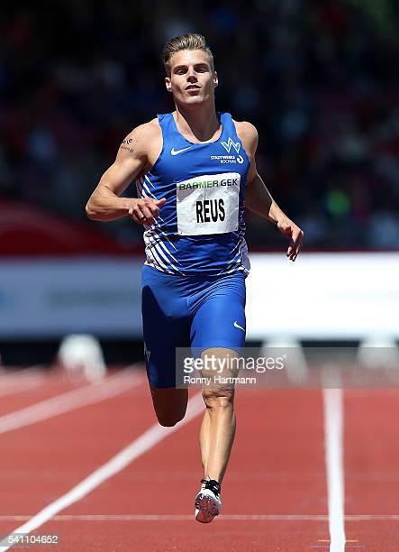 Julian Reus of TV Wattenscheid runs during the Men's 100 metres heats during day 1 of the German Championships in Athletics at Aue Stadium on June 18...