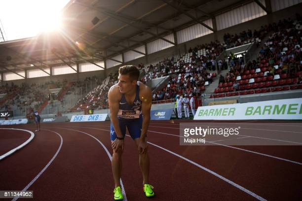 Julian Reus pauses after winning at men's 200 Final during day 2 of the German Championships in Athletics at Steigerwaldstadion on July 9 2017 in...