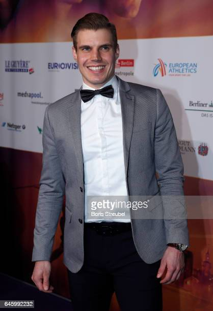 Julian Reus poses on the red carpet prior to the Berlin 2018 European Athletics Championships Video Premiere at Zoo Palast on February 27 2017 in...