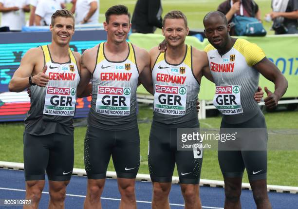 Julian Reus Robert Hering Roy Schmidt Aleixo Platini Menga of Germany celebrate finishing second in the 4x100m Relay on day 2 of the 2017 European...
