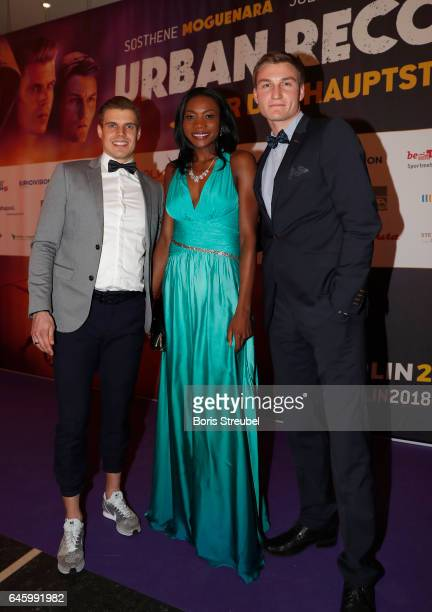 Julian Reus Sosthene Moguenara and Thomas Roehler pose on the red carpet prior to the Berlin 2018 European Athletics Championships Video Premiere at...
