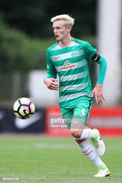 Julian Rieckmann of Bremen in action during B Juniors German Championship Semi Final between Werder Bremen and Borussia Dortmund on June 7 2017 in...