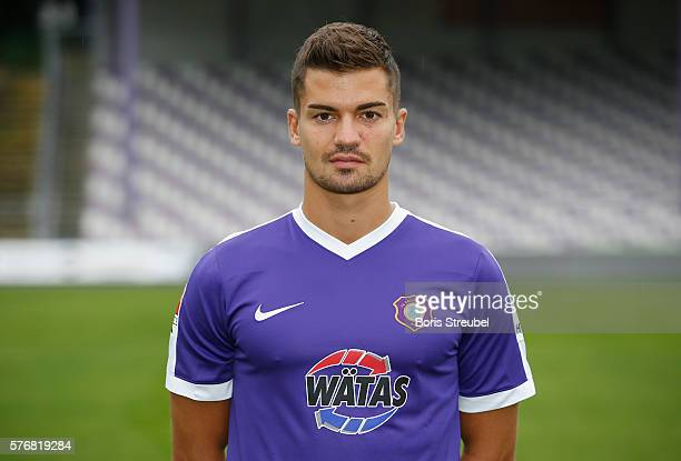 Julian Riedel of Erzgebirge Aue poses during the FC Erzgebirge Aue Team Presentation at Sparkassenerzgebirgsstadion on July 17 2016 in Aue Germany