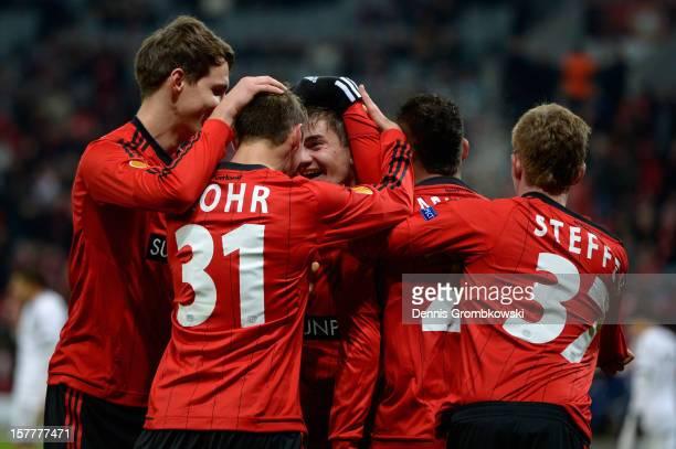 Julian Riedel of Leverkusen celebrates with teammates after scoring a goal during the UEFA Europa League Group K match between Bayer 04 Leverkusen...
