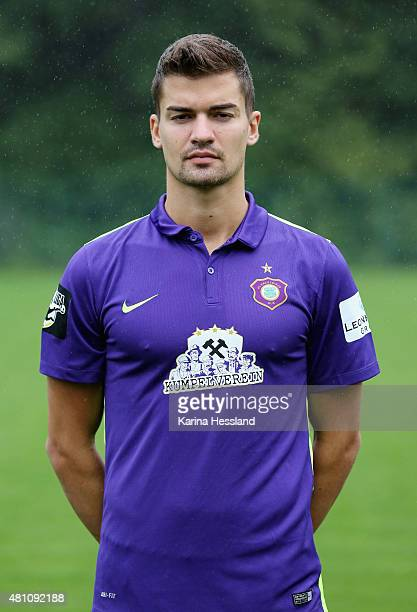Julian Riedel poses during the official team presentation of Erzgebirge Aue at ground 2 on July 14 2015 in Aue Germany