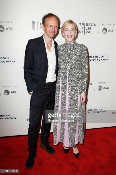 Julian Rosefeldt and Cate Blanchett attend the 'Manifesto' premiere during the Tribeca Film Festival at Spring Studios on April 26 2017 in New York...