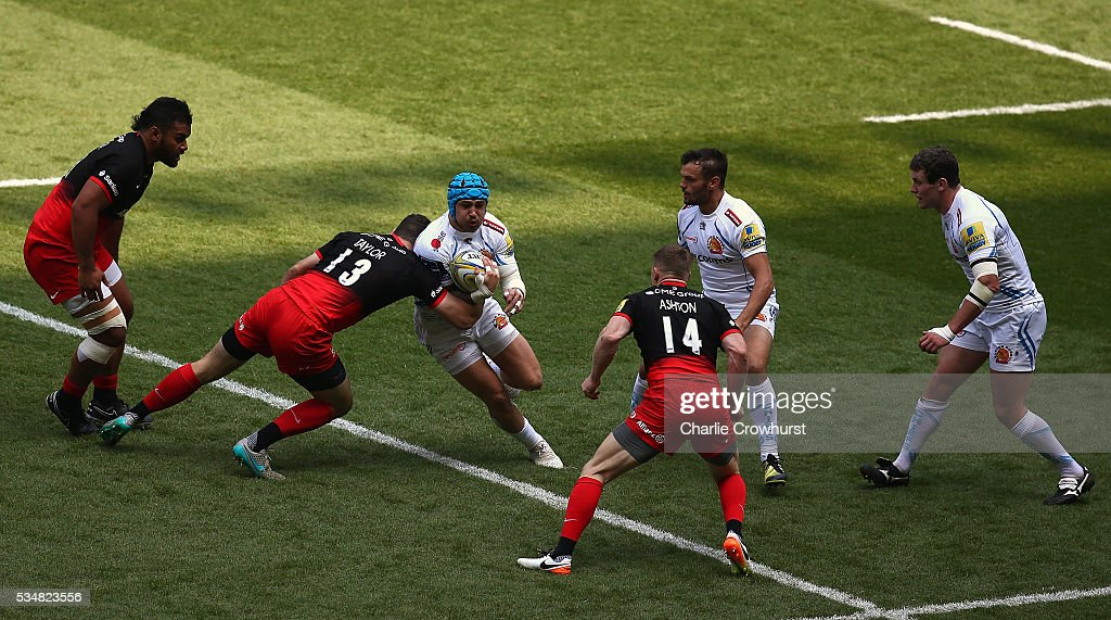 <a gi-track='captionPersonalityLinkClicked' href=/galleries/search?phrase=Julian+Salvi&family=editorial&specificpeople=663309 ng-click='$event.stopPropagation()'>Julian Salvi</a> of Exeter Chiefs is tackled by Duncan Taylor of Saracens during the Aviva Premiership final match between Saracens and Exeter Chiefs at Twickenham Stadium on May 28, 2016 in London, England.
