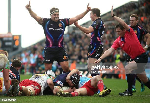 Julian Salvi of Exeter scores a try during the AngloWelsh Cup Semi Final match between Exeter Chiefs and Harlequins at Sandy Park on March 12 2017 in...
