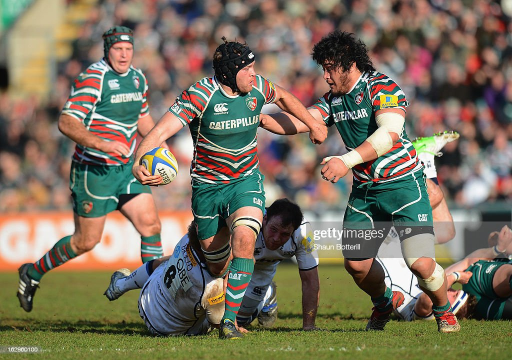 Julian Salvi of Leicester Tigers breaks through the Sale Sharks denfence during the Aviva Premiership match between Leicester Tigers and Sale Sharks at Welford Road on March 2, 2013 in Leicester, England.