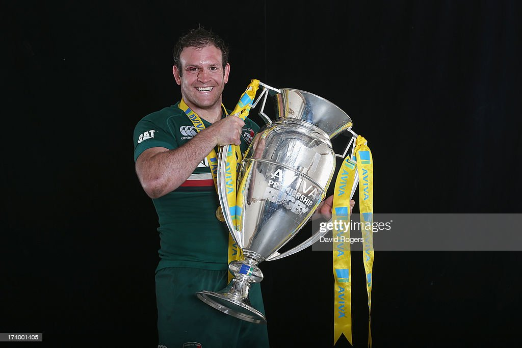 Julian Salvi of Leicester Tigers poses with the Aviva Premiership Trophy after the Aviva Premiership Final between Leicester Tigers and Northampton Saints at Twickenham Stadium on May 25, 2013 in London, England.