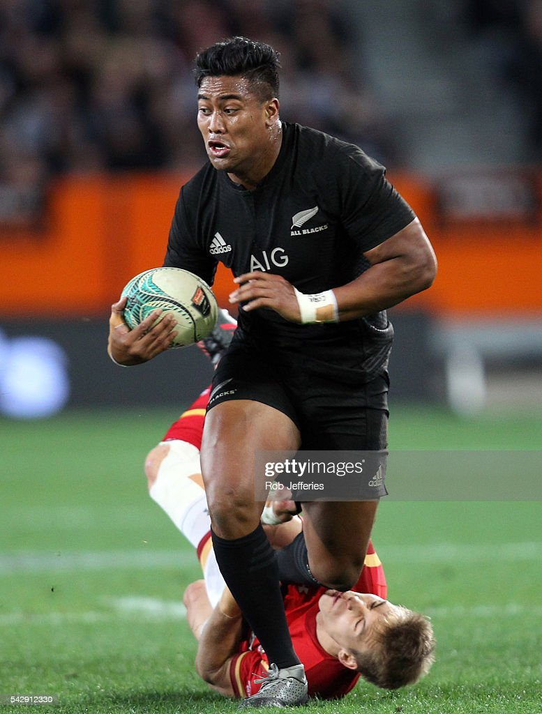 Julian Savea of New Zealand on the attack during the International Test match between the New Zealand All Blacks and Wales at Forsyth Barr Stadium on June 25, 2016 in Dunedin, New Zealand.