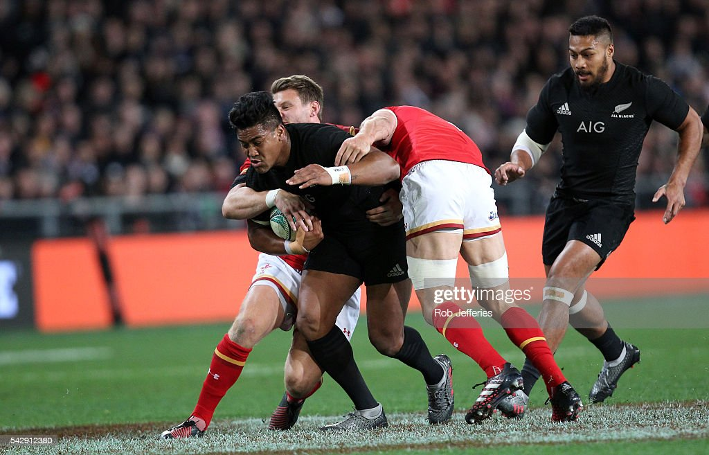 Julian Savea of New Zealand on the charge during the International Test match between the New Zealand All Blacks and Wales at Forsyth Barr Stadium on June 25, 2016 in Dunedin, New Zealand.