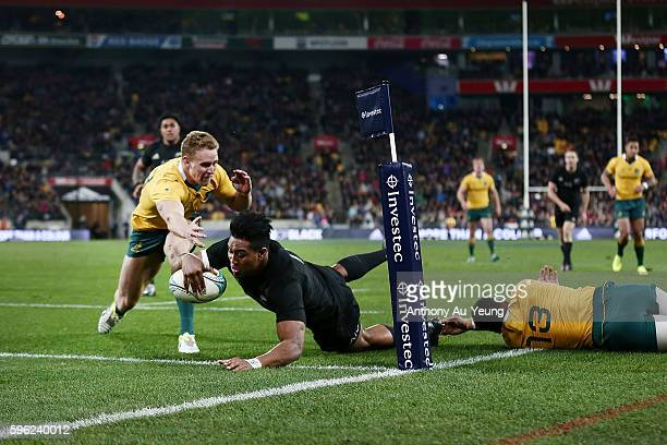 Julian Savea of New Zealand scores a try during the Bledisloe Cup Rugby Championship match between the New Zealand All Blacks and the Australia...