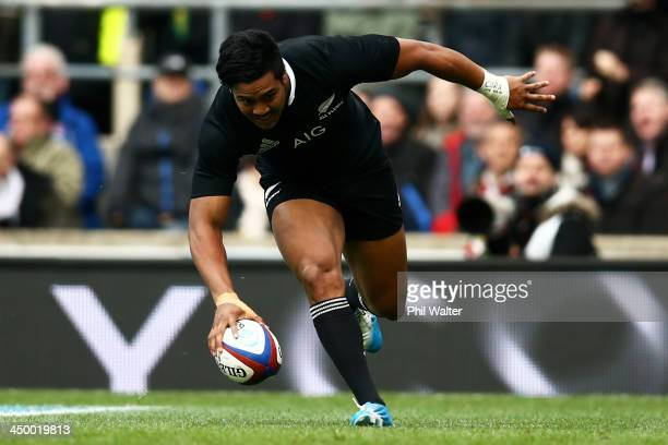 Julian Savea of New Zealand touches down to score the opening try during the QBE International match between England and New Zealand at Twickenham...
