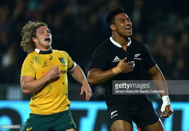 Julian Savea of the All Blacks celebrates after scoring a try during The Rugby Championship match between the New Zealand All Blacks and the...